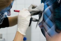 Airbrush Schminke in Arbeit